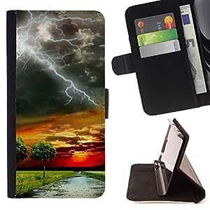 BullDog Case - FOR/Samsung Galaxy S3 III I9300 / - / lightning savannah road sunset nature Africa /- Monedero de cuero de la PU Llevar cubierta de la caja con el ID Credit Card Slots Flip funda de cuer