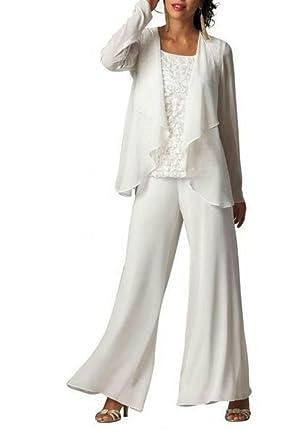 Dmdrs Women S White Chiffon Pants Suit Mother Formal Gowns Evening