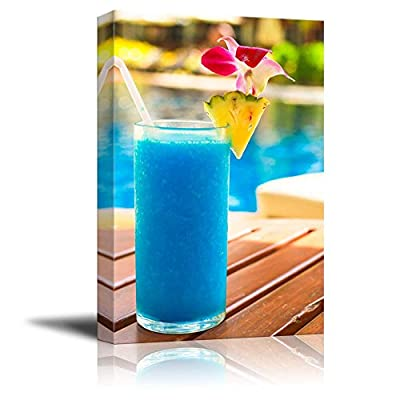 Premium Product, Fascinating Object of Art, Tropical Blue Cocktail on a Beach Near a Swimming Pool Wall Decor