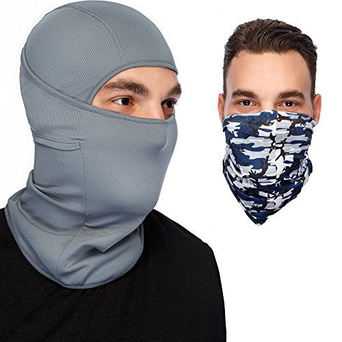 Pro Racing Hoody (Grey Balaclava Ski Mask :Full Face Mask + Versatile Headband - Neckwarmer - Motorcyle Mask - Tactical Balaclava Hood)