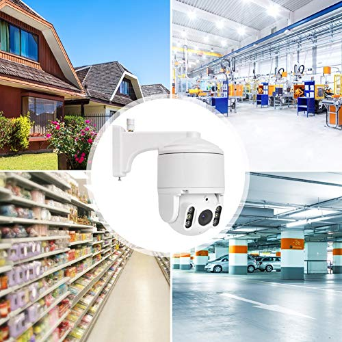 PTZ Dome IP Camera, 5X Zoom 1080P WiFi CCTV Outdoor Security Camera with 355° Pan/90° Tilt, PIR Motion Detection, Night Vision, 2-Way Audio Support Cloud Storage(US)
