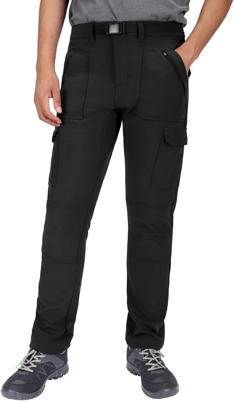 DISHANG Pantalones de Carga Forrados de Vellón para Hombre Pantalones de Senderismo de Invierno Aislados con Bolsillos con Cremallera Esquí para Nieve al Aire Libre Repelentes al Agua