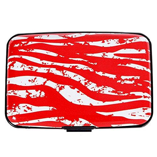 Vichline Aluminum RFID Blocking Slim Metal Wallet Credit Card Holder for Men Women (Red Zebra Striped) (Striped Card Case)