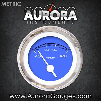 White Vintage Needles, Chrome Trim Rings, Style Kit Installed Aurora Instruments 4801 Competition Blue Metric Water Temperature Gauge