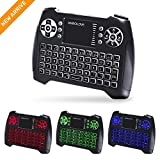 (Actualización 2018, 3 colores RGB) Teclado inalámbrico retroiluminado con teclado táctil y teclas multimedia, teclado de control remoto recargable USB 2.4Ghz para PC, HTPC, X-BOX, Android TV Box, Smart TV