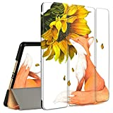 iPad 9.7 2018/2017 Case, ipad 6th/5th Generation Case with Pencil Holder, Amook Tri-Fold Smart Cover Stand Shockproof Case for 9.7 inch ipad 2017 2018 & ipad Air 1/2- Fox with Sunflower