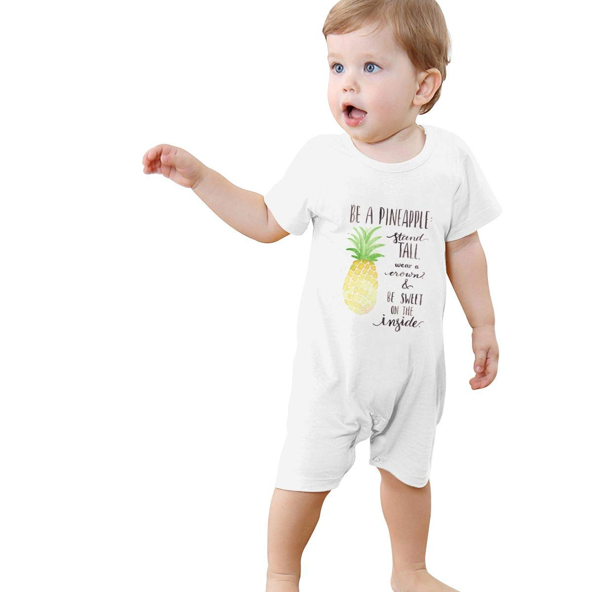 YINGFG Baby Boys Girls Short Sleeve Jumpsuit Be A Pineapple Quotes 1 Cotton Romper
