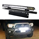 iJDMTOY® Complete Set 100W High Power CREE LED Light Bar with Bullbar Style Front Bumper License Plate Mounting Bracket Holders For Any Truck, Jeep, SUV, Van, 4x4, etc