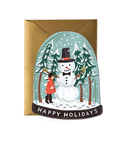 - Snowman Snow Globe Die-Cut Flat Holiday Card Set by Rifle Paper Co. (GCX035B) -- Set of 8 Cards and Envelopes