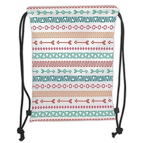 Bike Girls Maya - Custom Printed Drawstring Backpacks Bags,Arrow Decor,Aztec Maya Ethnic Pattern and Triangle Geometric Shapes Native Heritage Graphic Art,Multi Soft Satin,5 Liter Capacity,Adjustable String Closur