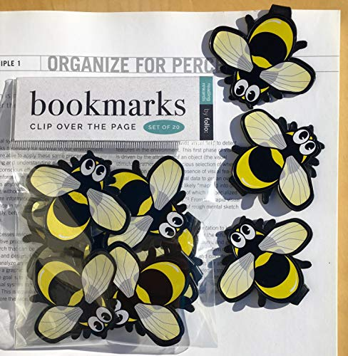 BEE Bookmarks - (Set of 20 Book Markers) Bulk Animal Bookmarks for Students, Kids, Teens, Girls & Boys. Ideal for Reading incentives, Birthday Favors, Reading Awards and Classroom Prizes! ()