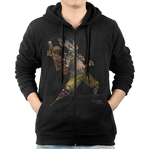 [Overwatch Men's Junkrat Hoodies Hoodie Black] (Gill Man Costume)