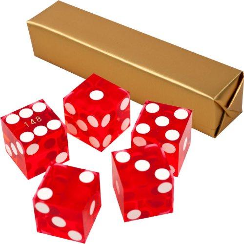 Stick of 5 Red Precision Casino Razor Edge Craps Dice - Comes with 5 Standard Bonus Dice!
