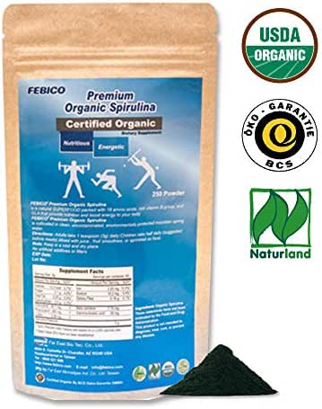 Febico Pure Organic Spirulina Powder, Rich Ingredients, Protein, Vitamin B Complex, GLA, Vegan, Healthy Superfood, high-Quality, Non-GMO, USDA, Naturland and Halal Certified, 250grams for 83days.