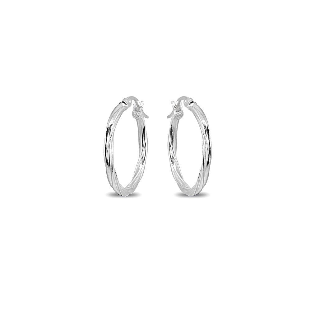 Sterling Silver 2x20mm Twist Round Small Hoop Earrings for Women Girls, 3/4 Inch