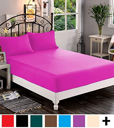 Elegant Comfort  Premium Hotel 1-Piece, Luxury & Softest 1500 Thread Count Egyptian Quality Bedding Fitted Sheet Deep Pocket up to 16inch, Wrinkle and Fade Resistant, Twin/Twin XL, Hot Pink