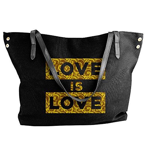 Black Hand Tote Bag LOVE LOVE Handbag Women's Large Shoulder IS Canvas xq8ZaUv