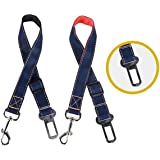 2-Pack Adjustable Car Seat Belts for Dogs & Cats - Allow Breathing Fresh air Without Pets Jumping Out - Support All Cars (Black and Red)