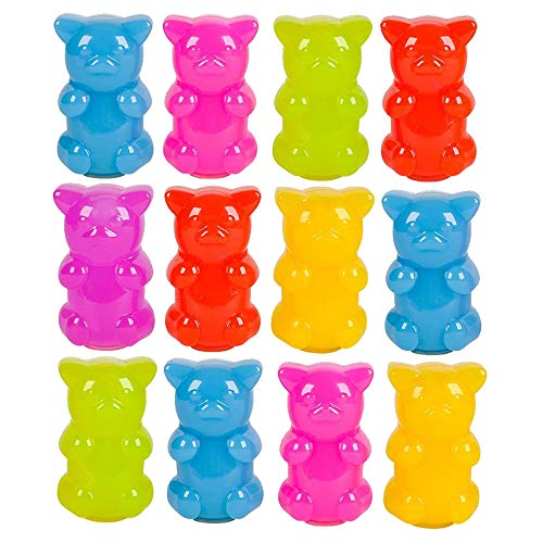 Kicko Gummy Bear Slime - Pack of 12 Neon Gooey Slimes in a Gummy Bear Shaped Container - Good For Party Favors, Kids, Squishing and Squashing, Stress Reliever -