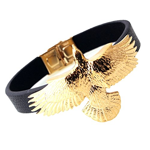 Cool Eagle Silver Gold Tone Men's Chain Jewelry Stainless Steel Black Leather Chain Bracelet (Gold Black) - Gold Tone Eagle Top