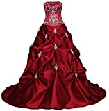 RohmBridal Women's Strapless Embroidery Burgundy Wedding Dress Size 26