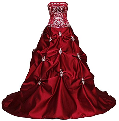 RohmBridal Women's Strapless Embroidery Burgundy Wedding Dress Size 26 by RohmBridal