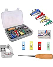 Festnight Bias Tape Makers Set of 4 Sizes Sewing Bias Tape Maker Kit for Quilting DIY Quilting Tools Awl Quilting Clips and Binder Foot Case Tool Set Tape Maker Set