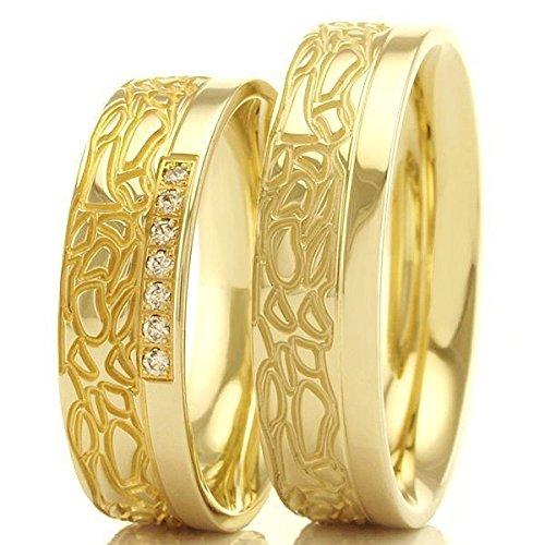 """Anillos de boda - confíes anillos 333 oro brillantes """"anillo elemento tierra"""" ("""