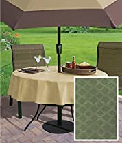 "Naomi Diamond Pattern Indoor/Outdoor Flannel Backed Vinyl Tablecloth, 70"" Zippered Umbrella Round, Green"