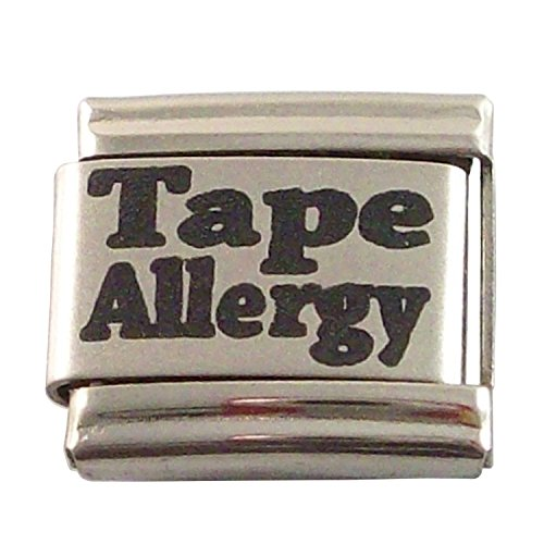 Allergic to Tape Medical ID Alert Italian Charm for Bracelet Allergy - Medical Charms For Bracelets