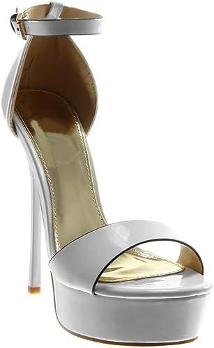 Femmes Plateforme Peep Toe Stilettos Sandales 14 Cm Talon Haut Bride Cheville Chaussures