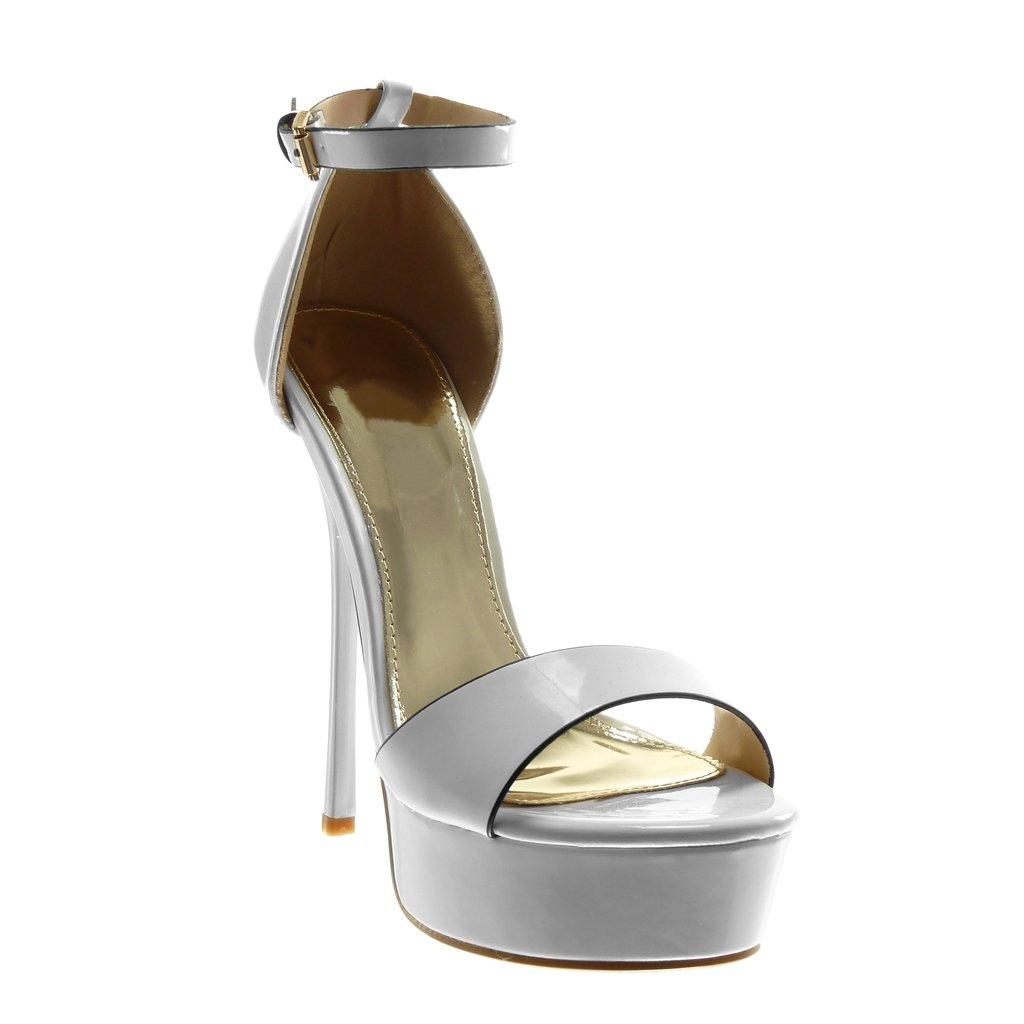 Angkorly Scarpe Moda Sandali Decollete con Tacco Stiletto Zeppe con Cinturino alla Caviglia Donna Verniciato Tanga Tacco Stiletto Alto 14.5 cm Bianco