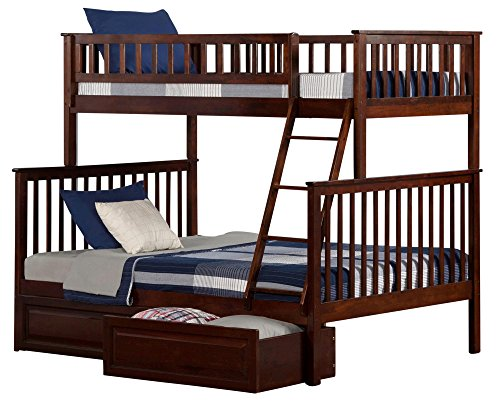 Atlantic Furniture AB56224 Woodland Bunk Bed with 2 Raised Panel Bed Drawers, Twin/Full, Walnut