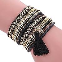 AutumnFall Women Bohemian Bracelet Woven Braided Handmade Wrap Cuff Magnetic Clasp (Black)