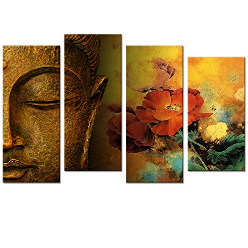(Buddha Canvas Wall Art,Framed and Stretched,Large Size Merciful Buddha, Act with Compassion ,Multi Panels Canvas Print,Water-proof,Sincere Belief)
