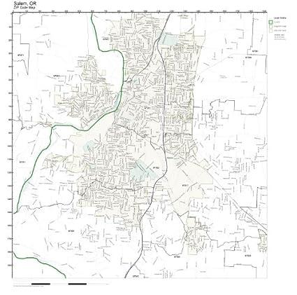 Amazon.com: ZIP Code Wall Map of Salem, OR ZIP Code Map Laminated ...