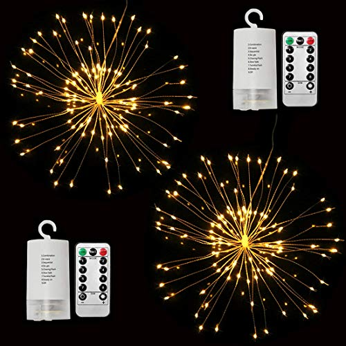 Dreamworth 2 Pack Hanging Starburst Light, 100 LED String Light Bouquet Shape Firework Battery Operated with Remote Control for Christmas, Birthday, Bedroom, Corridor Patio, Garden, Wedding, Parties ()