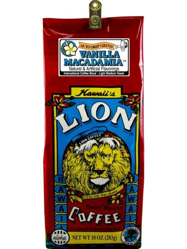 Hawaiian Value Pack Lion Coffee Ground Vanilla Macadamia 4 Bags by Lion Coffee