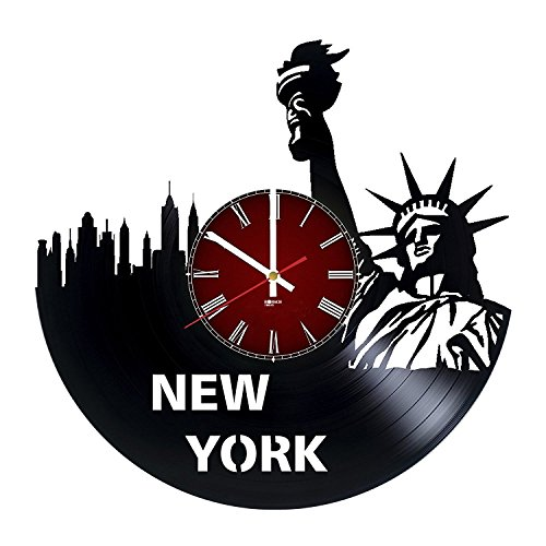 New York City Ornament HANDMADE Vinyl Record Wall Clock - Get unique home wall decor - Gift ideas for boys and girls – Cities Skylines Unique Modern Art