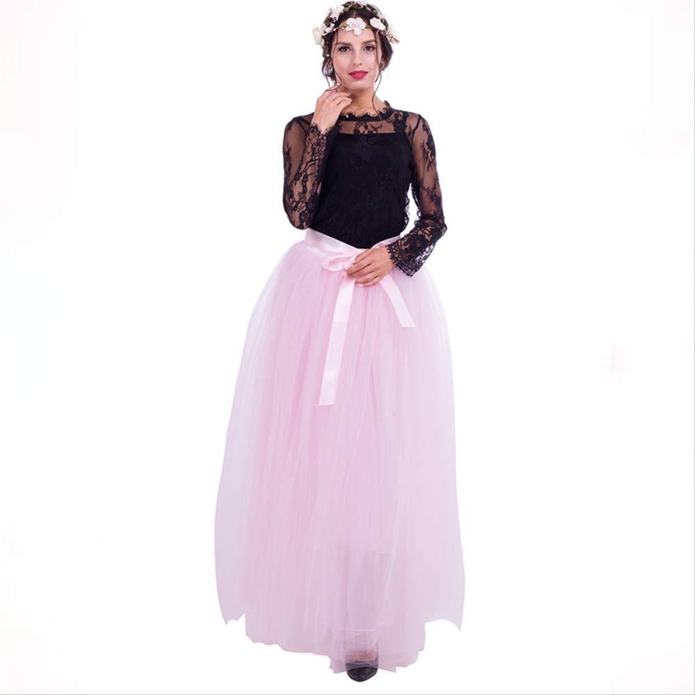 c6bf1139c QYYDBSQ 7 Capas 100 cm Faldas Largas de Tul para Mujer Falda Plisada ...