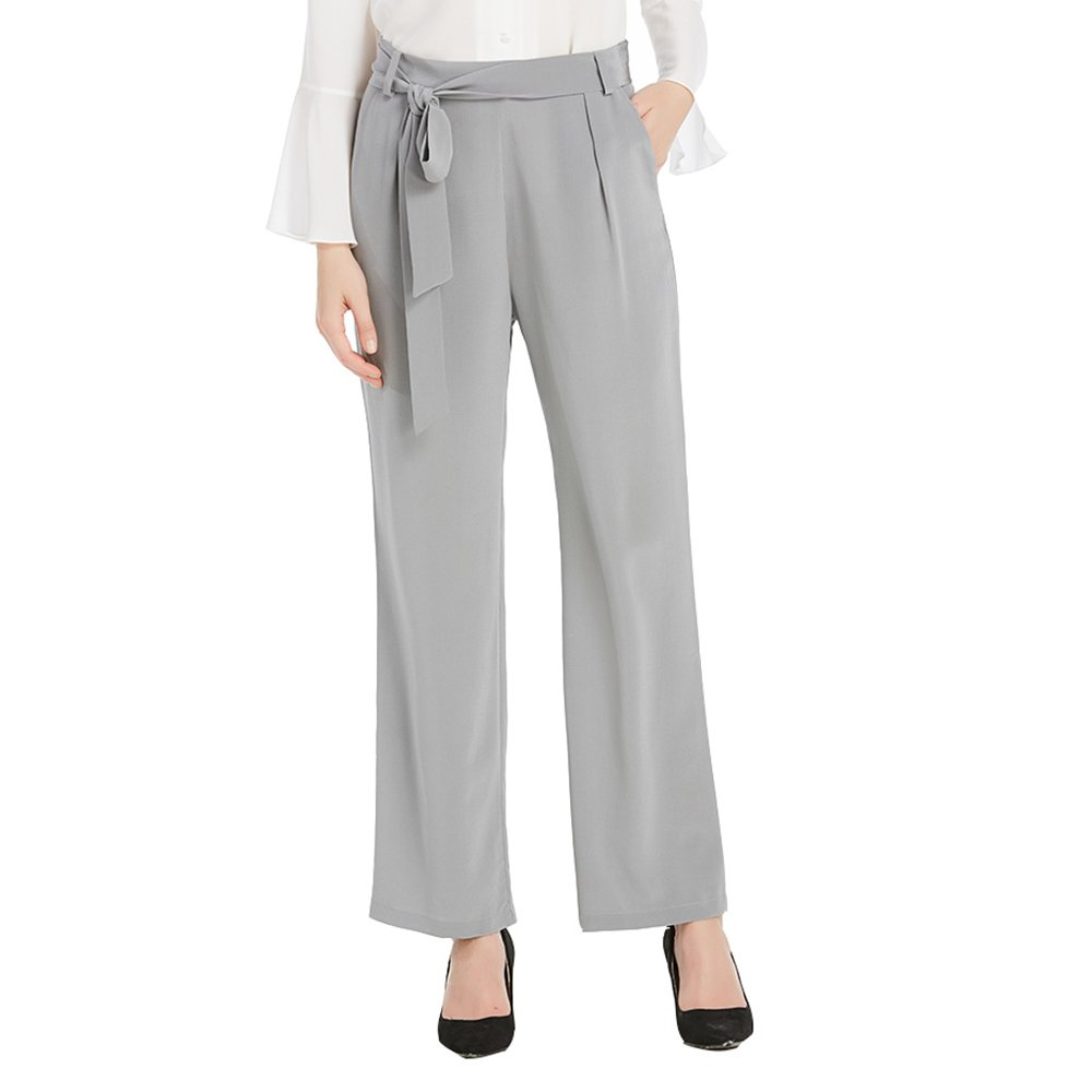 LILYSILK Women Silk Pants Wide Leg 18MM Pure Silk Bow Belt Ladies Trousers Lightweight Business Classy Grey 18/XXL by LilySilk