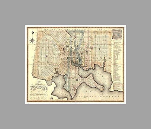 Baltimore - Vintage City Maps - 24x19 Matte Poster Print Wall ()