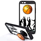 iPhone 6s Cases, iPhone 6 Cases with Pop up Kickstand and Grip Cases Fashion Protective Covers Soft Bumper Silicone Shockproof Anti-Scratch Cover Cases for iPhone 6/6s 4.7 Inch People Basketball Cases