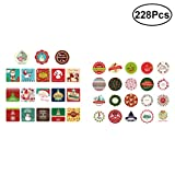 BESTOYARD Christmas Sealing Stickers Favors Gift Treats Bags Candy Cookie Biscuit Boxes Jars Envelopes Scrapbooking Diary Stickers 228pcs