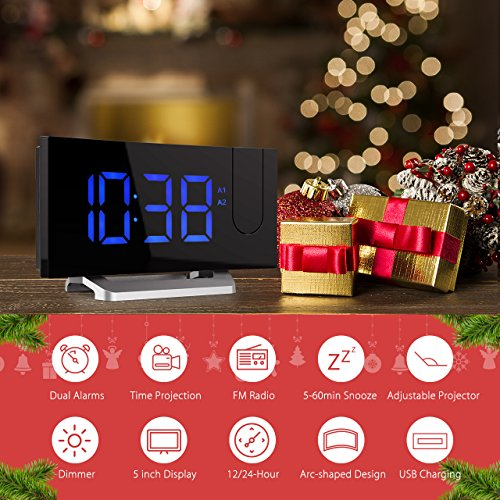 -[ FM Adjustable Projection Alarm Clock with Dual Alarms, Digital Ceiling Clock with USB Charging P