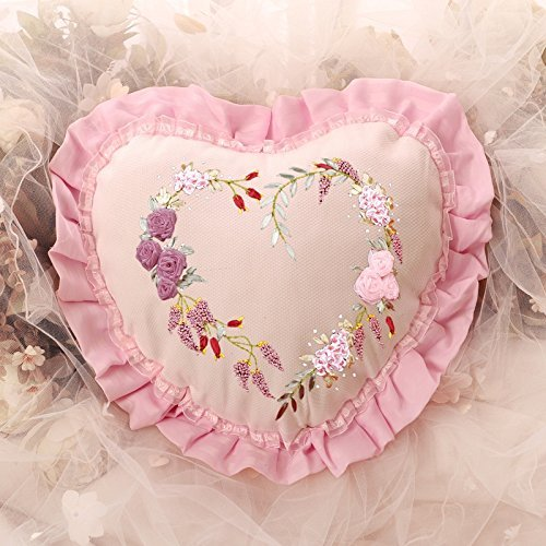 Heart Shaped Pillow Pink Silk Ribbon Floral Decorative Pillow Cover, Blue Moon Needlecrafts, Stamped Silk Ribbon Embroidery Kit, 14 By 12 (Lazy Daisy Stitch)