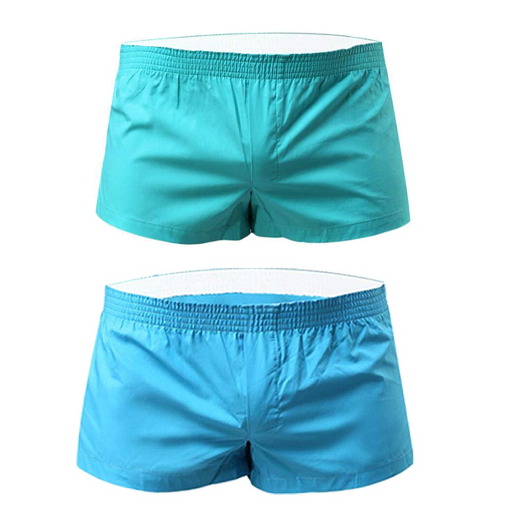 NECOA Mens Running Shorts, Solid Color Low Rise Underwear Boxer Briefs Casual Summer Homewear Underpants (S, Skyblue+Lightblue)