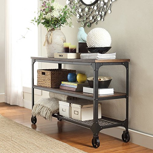 Kitchen Living Room Pass Through See Description: INSPIRE Q Nelson Industrial Modern Rustic Console Sofa