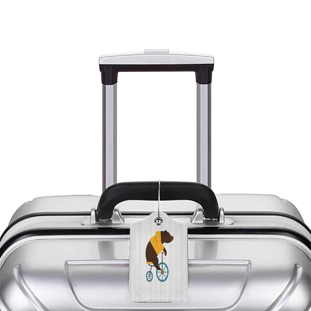 Multicolor luggage tag Bicycle Big Teddy Bear Icon of Circus Riding Bicycle with Hipster Costume Animal Image Hanging on the suitcase Brown Yellow W2.7 x L4.6