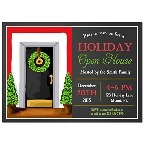 Holiday Open House Party Invitations With ANY Wording PrintedChristmas Holida Invitation